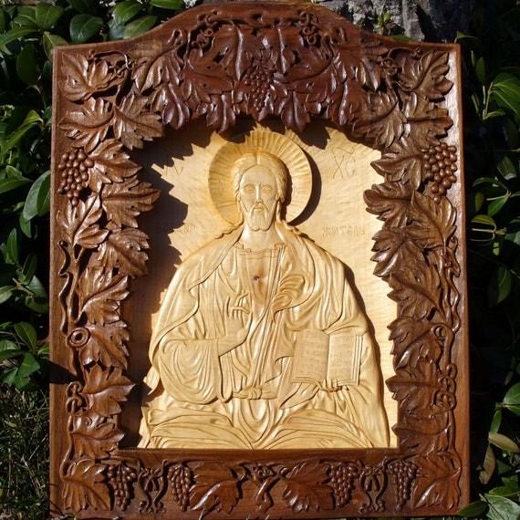 Jesus Christ, Art Wood Carving, Orthodox Christian, Religious Icon, Byzantine, Wood wall art, home iconostasis, wood sculpture, MariyaArts