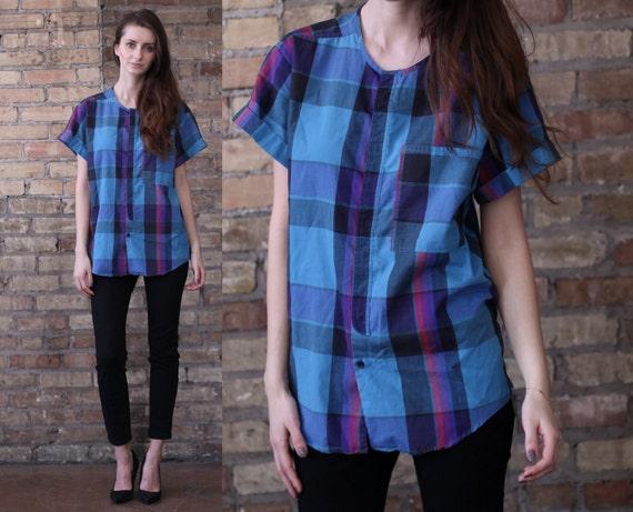 vintage plaid blouse shirt // 80s //  boxy slouchy fit // blue pink black // medium large