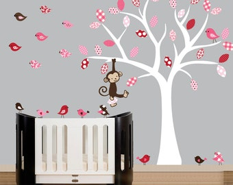 Wall Decal - childrens wall decals white tree wall decal lots of birds wall sticker - 0110