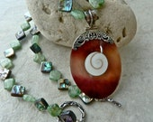 Seascape Shiva Eye Shell Pendant - Abalone Green Kyanite Necklace - Ocean Sparkle Unique Necklace