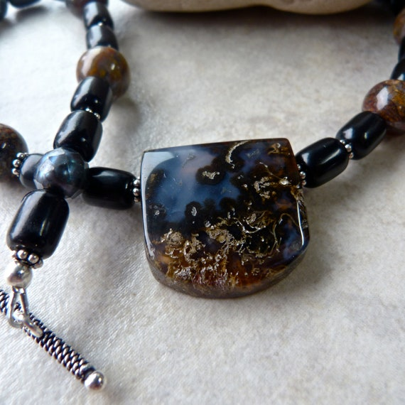 Thunder Egg Agate Pendant with Pietersite Beads, Jet and Iridescent Blue Pearls Earthy Artisan Necklace