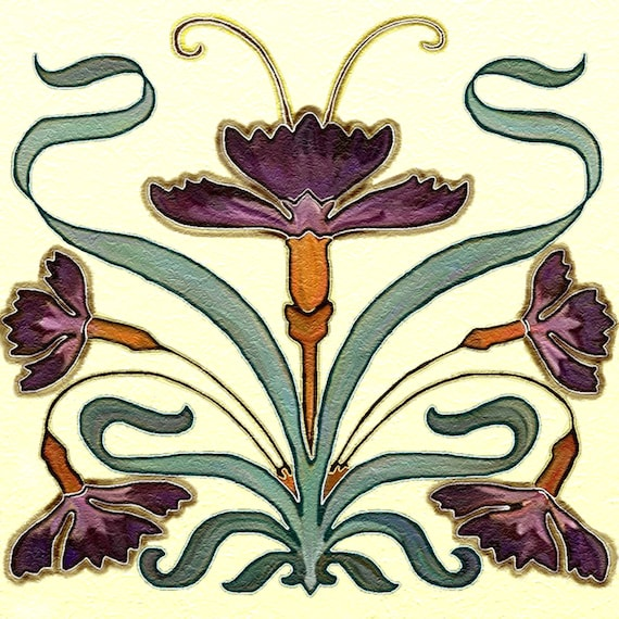 Nouveau art tile ceramic kitchen backsplash 6 by cccnet on for Art nouveau tile mural