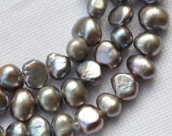 Seed pearl Freshwater Pearl,Corn pearl,Baroque pearl,Necklace pearl,Dark gray Loose Pearl 6.0-7.0mm 56pcs Full Strand Item No : PL1158