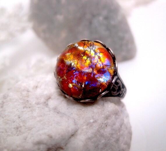 Sunset Dream Light Gold Opal Ring