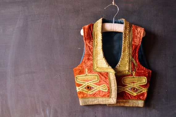 Kids crushed orange velvet and gold embroidered ethnic tribal vest, hippie boho, kids size 6, 8