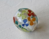 Lampwork bead. Small flowers