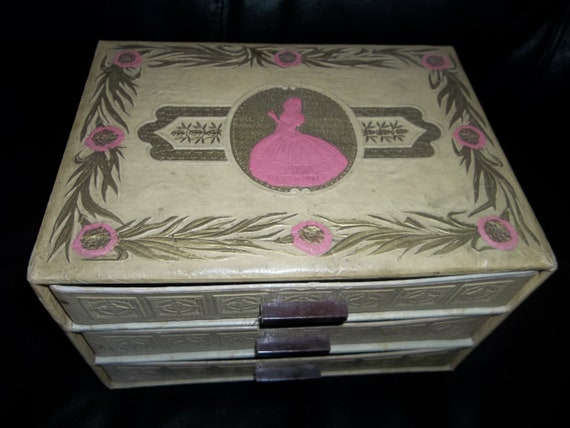 Vintage Jewelry Box...3 Drawers...Shabby Chic