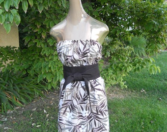 """Strapless White with Tan and Chocolate Brown Bamboo leaf print with 4"""" Chocolate Obi belt, Sm-Med"""