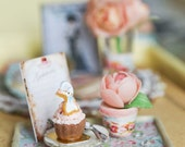 Tea Time w/ Rose- 12th scale dollhouse miniature - PetitDeCherries