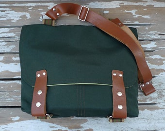 Dark Green Canvas Single Leather Strap Messenger bag / Cross Body Messenger