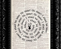Alice - Down The Rabbit Hole - - Vintage Dictionary Print Vintage Book Print Page Art Upcycled Vintage Book Art