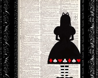 Alice Silhouette Greets The Queen - - Vintage Dictionary Print Vintage Book Print Page Art Upcycled Vintage Book Art