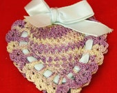 Vintage Ca 1940s HAND CROCHET HEART a Lavender and Pink  Sachet, Heart Shaped (Valentine's Day)  -