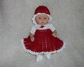 Red Dress Set For 10 Inch Ooak Doll Crochet