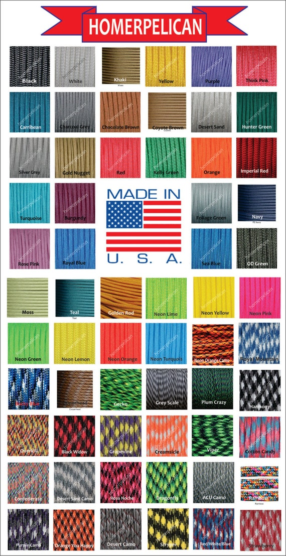 Para chute Cord 550 for Sale 7 Strand Military Spec Type III Over 60 Paracord Colors MADE IN U.S.A  25 Ft.