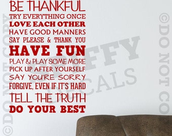 Family Rules..... Do Your Best Removable Vinyl Wall Decal - Medium Size