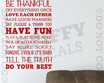 Family Rules..... Do Your Best Removable Vinyl Wall Decal - Small Size