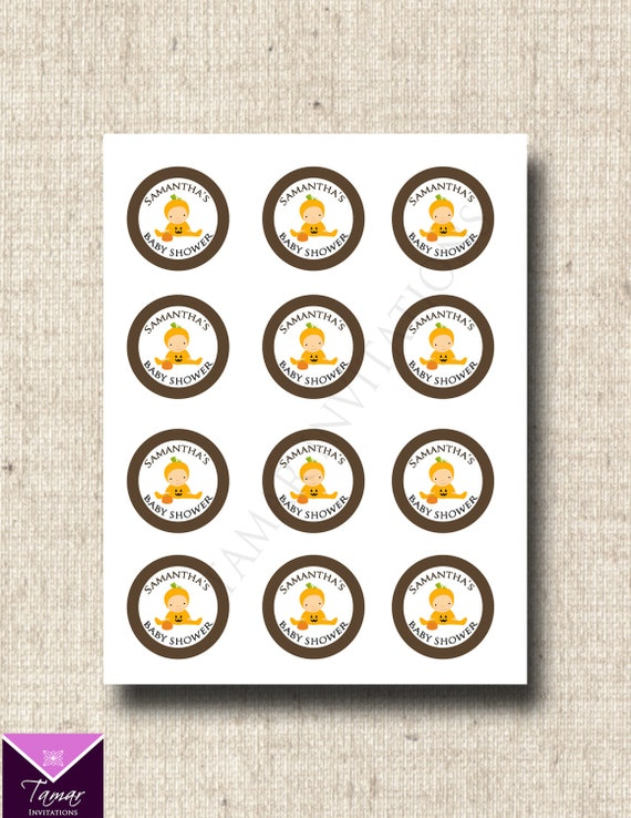 Printable Halloween Baby Shower Tags / Cupcake Toppers- Cute Little Pumpin Patch - Great for Fall, Halloween or Pumpkin theme showers