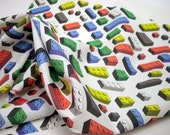 Toy bricks fabric fat quarter - multicolored on white background