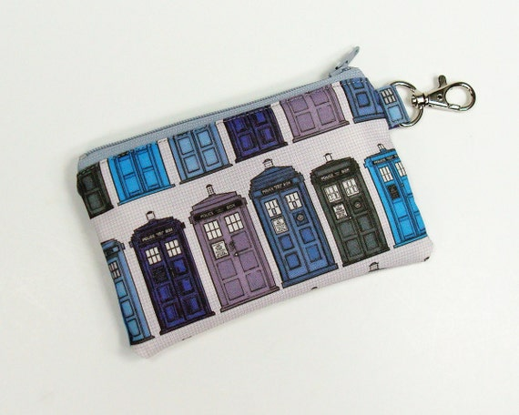 Tardis coin purse 5 inch doctor who zipper wallet with clip