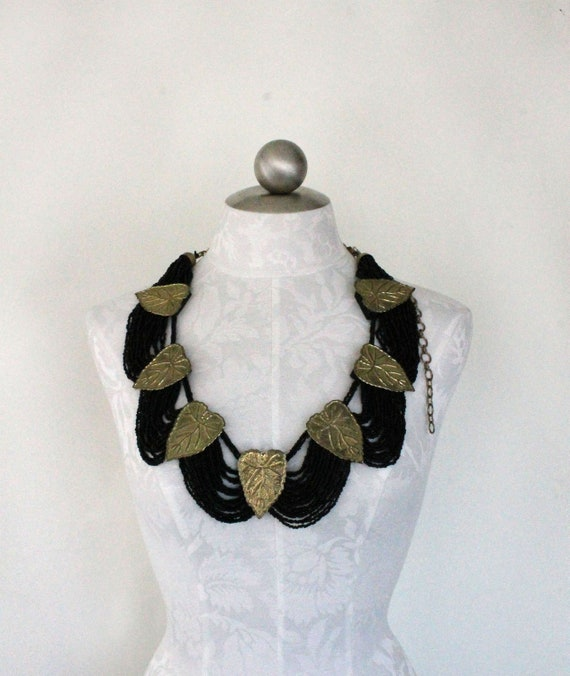 vintage statement belt // glass beads and brass leaves