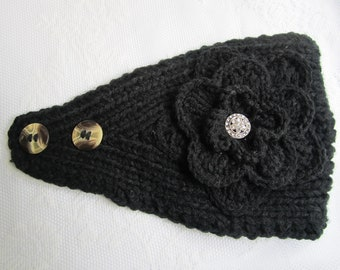 Black Knit Headband, Ear Warmer with Crochet Flower and Rhinestone Button