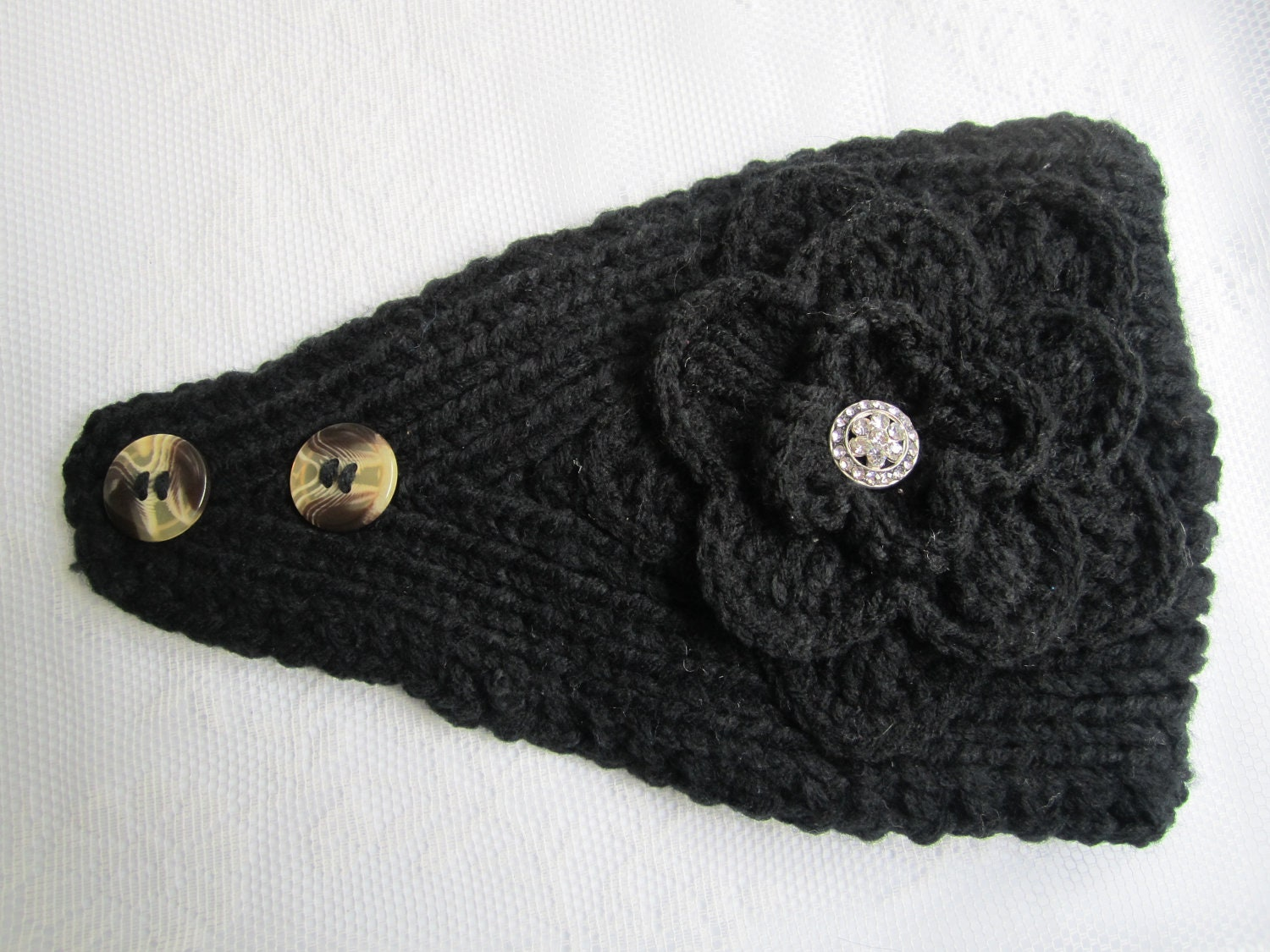 Knitted Headband With Button Pattern : Black Knit Headband Ear Warmer with Crochet Flower and