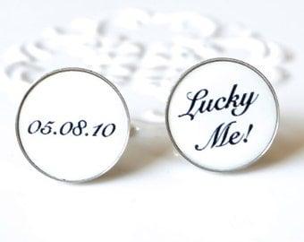 Lucky me custom date cufflinks - wedding day keepsake gift for the groom, anniversary gift for him