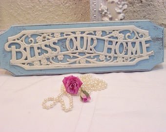 Vintage Wood Bless This Home Distressed Wall Decor Plaque Aqua