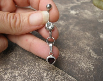 Barbell Belly Button Jewelry / Belly Button Ring in Sterling Silver & Garnet Heart - Handcrafted Artisan Belly Jewelry Belly Dance Jewelry