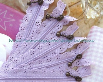 Long Zippers Scallop Lace Zippers Lavender Lace Zippers Clothes Purse Bags Metal Zipper 5's - 13 Inches
