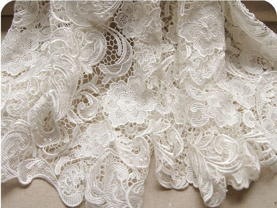 White Wedding Lace Fabric Bridal Lace Dress Wedding Gown
