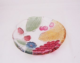 Vintage Clear Glass Small Plate with Leaf, Berry and Flower painted patterns, UK Seller