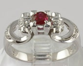 Vintage 18K White Gold Engagement Ring - Diamonds and Ruby - Size 6 1/4 - Art Deco Style - Ruby Engagement Ring, Vintage Gold Ring