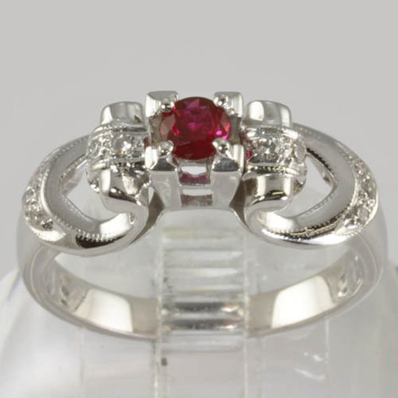 Vintage 18K White Gold Engagement Ring - Diamonds and Ruby - Size 6 1/4 - Art Deco Style - Ruby Engagement Ring, Vintage July Birthstone