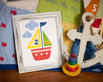 NAUTICAL BOAT BATHROOM, sailboat nursery, Ocean Wall Art Print, baby boat bedding, Ocean bathroom decor, yellow boys room, nautical bathroom
