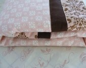 Baby Bedding Crib Quilt and Crib Skirt  Blue or Pink and Brown Toddler Blanket Set