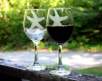Coastal decor seaside  wine glass set Engraved  glassware Elegant stemware, set of two Beach decor  Beach house Nautical