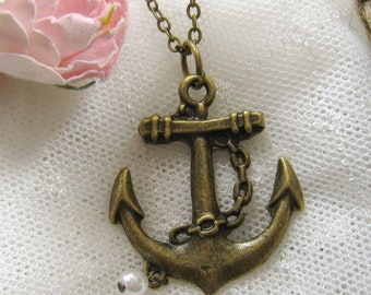 Vintage brass anchor necklace