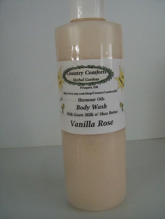 Vanilla Rose Body Wash - Goatsmilk, Shea Butter, Silk Protein Fibers, liquid soap, shower soap, skin cleanser - 8 oz bottle