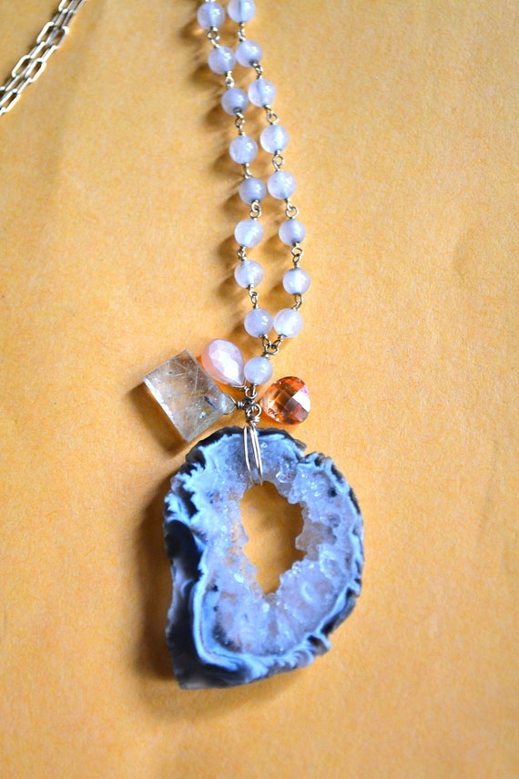Large Geode Quartz Pendant set in Gold Tone with Matching Necklace, Vintage Fine Jewelry
