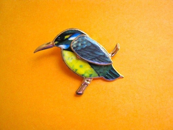Multicolor Bird Brooch, made with Enamel, Collectors Animal Brooch, Clearance Sale