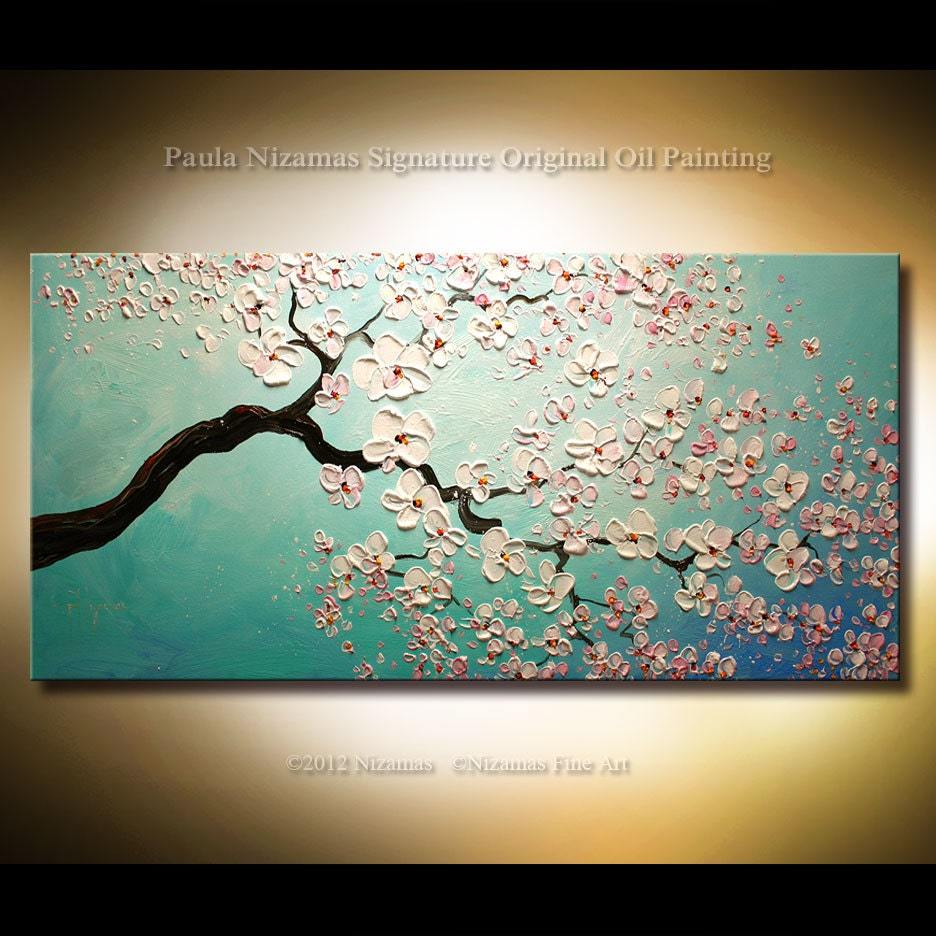 Original palette knife on canvas painting cherry blossoms by for Canvas painting of cherry blossoms