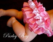 Beautiful Parley Ray Strawberries and Cream Ruffled Baby Bloomers/ Diaper Cover / Photo Props