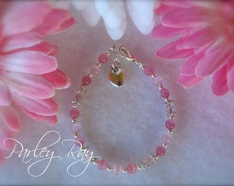 Parley Ray Baby Girls Pink Bracelet Swarovski Crystal, Cat Eye Beads with a Heart Charm