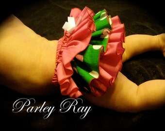 A Beautiful Parley Ray Pink with Green Polkadots Ruffled Baby Bloomers/ Diaper Cover / Photo Props/ Ruffle Bloomer