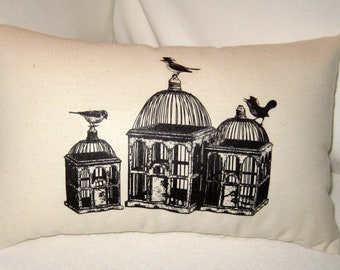 Vintage French Birdcages Pillow, Victorian Birdcages, French Country Cushion, Shabby Chic Affordable Home Decor, Paris Inspired, Bird