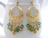 Chandelier earrings, hoops, green and gold earrings, crystal earrings, Christmas gift, gifts for her - Beadingbytheshore