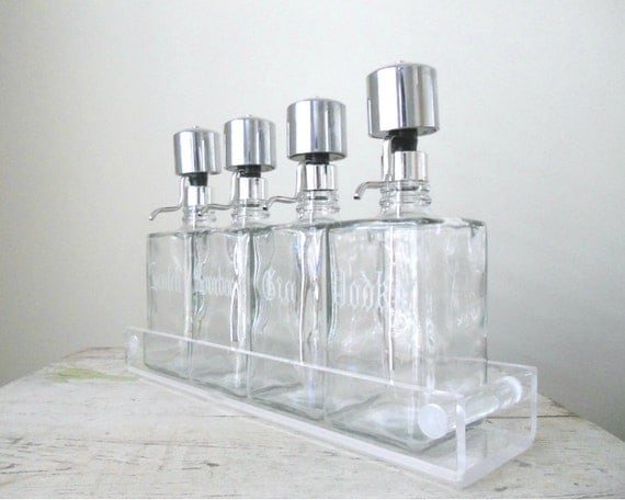 Vintage Decanter Pumps with Lucite Tray - Mad Men, Barware, Mid-Century Bar
