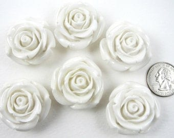 6 WHITE rose beads 34mm x 21mm resin flower beads chunky